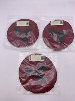 Lot of 3 Longaberger 2003 Caroling Basket Fabric Lid Cover Paprika 2807127 NEW