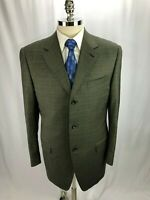 Canali Men's Brown Super 120 Glen Plaid Wool Blazer Jacket 42L