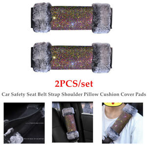 Pair Car Safety Seat Belt Strap Diamond Plush Shoulder Pillow Cushion Cover Pad