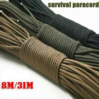 25ft / 100ft 7 Strand Core Cord 550 Paracord Parachute Rope Lanyard Survival 4mm