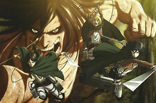 Poster A3 Shingeki No Kyojin Eren Jaeger Mikasa Armin Arlert / Attack Titan 01