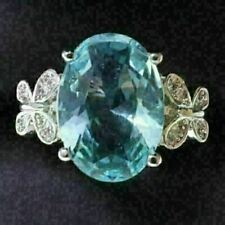 Sparkling Oval Blue Aquamarine Ring Women Jewelry 14K Gold Plated Nickel Free