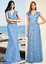 Tadashi Shoji 12 Levant Blue Stone Scalloped Floral Lace Gown