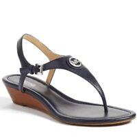 Women's Michael Kors Sandal Ramona Wedge T-Strap Thong Navy Leather Sz 8.5 NEW