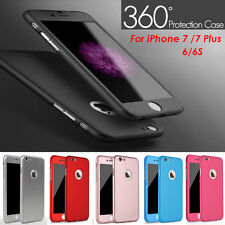Ultra thin 360° Hard Hybrid Case Cover + Tempered Glass For iPhone 6 6s Black