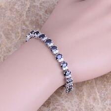 Sublime Black Sapphire White Topaz Silver Link Chain Bracelet For Women S0358