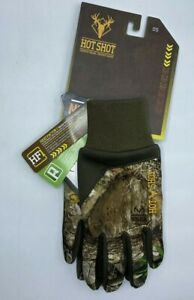 Boys Size 8-14 Realtree Edge Hot Shot Fleece Touch Hunting Gloves Elastic Wrists