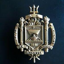 U.S. Naval Academy Vintage Brass Trident Uniform Medal Crest