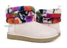 UGG Classic Mini Fluff Quilted Motlee Multi Fur Boots Womens Size 8 *NIB*
