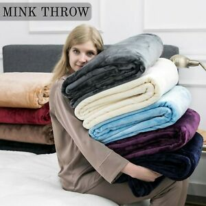 Large Fleece Throw Blanket Sofa Bed Thick Fluffy Warm Faux Fur Mink Double/King