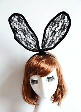 Women Black Bunny Costume Party Rabbit Big Long Ear lace Hair band Headband