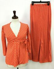 Vtg 70s 80s Orange Polka Dot Wrap Top Pants Set Womens Ilgwu Made in Usa