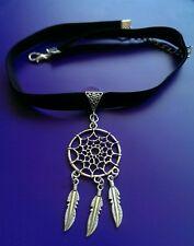 Dreamcatcher Tibetan silver black velvet choker necklace boho hippie festival