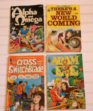 Vintage Comic Book Lot of 4 Hal Linsey, David Wilkerson, Adam & Eve, Alpha Omega