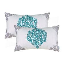 "2Pcs Grey Teal Cushion Covers Bolster Pillows Mandala Florals Sofa Home 12 x 20"""