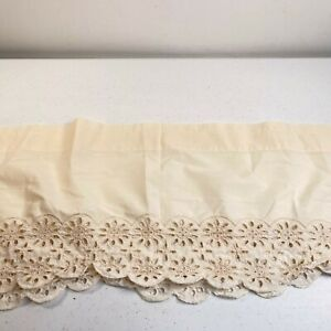 vintage curtain valance 11hx66w cream beige lace floral trim rod pocket retro