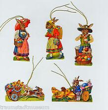 Viktorianische Osterhasen Glanzbilder mit Goldkordel - für Geschenke Osterstrauß