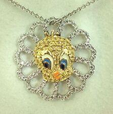 0.68 Carat Diamonds F VS & Sapphire 18k Multi-Tone Gold Tweety Bird Pendant