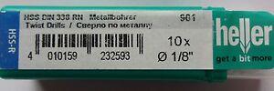 """Heller HSS-R Twist Drill Bits DIN 388 RN 1/8"""" 1mm 2mm 3mm Hi Speed Steel Rolled"""