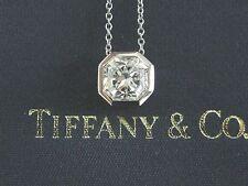 Tiffany & Co Platinum Lucida Diamond Bezel Set Pendant Necklace 1.58CT E-VVS1