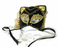 Gold & Black Cat Carnaval Sexy Woman Mardi Gras Adult Costume Party Mask
