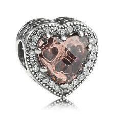 925 Sterling Silver Murano Glass Coffee Radiant Heart Crystal CZ Charm /bracelet