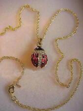 Russian Easter Empress Alexandra Lady Bug Egg Enameled Pendant Necklace