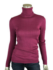 M Missoni 42 / 6 Turtleneck Pink Wool Stretch Long Sleeve Knit Top Sweater