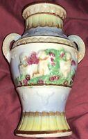 "Vintage JAPAN Majolica Pottery Miniature Vase 3-D Design Double Handles 6"" tall"