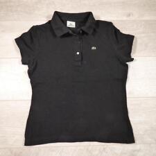 Ladies LACOSTE Black Vintage Designer Polo Shirt T-Shirt Size 42 / UK 10 #D5241