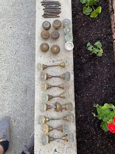 Vintage Lot of Assorted Glass and Brass Door Knobs