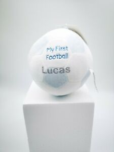 PERSONALISED ANY NAME BABY FOOTBALL 1ST SOFT TOY RATTLE PINK BLUE GIFT