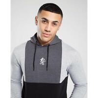 Gym King Mens Hooded Overhead Designer Front Panel Grey Hoodie Sweatshirt Hoody
