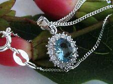 Collier Halskette 925 Silber Anhänger Hellblau Blautopas Zirkonia mit Kette Set