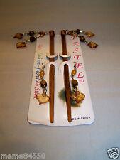 Light Brown  Heart Shape Dangle Wooden Hair Sticks With Matching Earrings