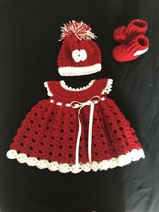 Handmade Crocheted 0-6 Months Baby Girl  Dress,hat And Booties
