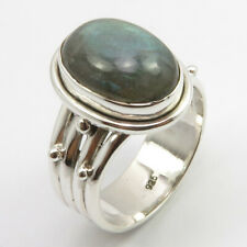 Solid Sterling Silver Natural Blue LABRADORITE Ring Size 6.75 Ladies Stone