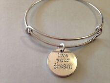 Live Your Dream Bracelet Charm Bangle SILVER Inspiration Message Positive Faith