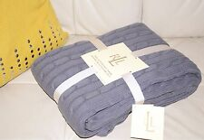 NEW RALPH LAUREN COLLECTION HOME COTTON KNITED CABLE THROW SOFA BED BLANKET Grey