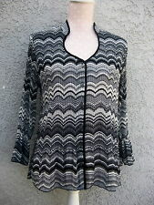 PLISSE Top - Large - B/W/GRAY - Semi Sheer - Button Front Blouse