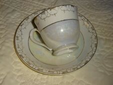 Vintage Pearl & Light Gray Luster China Demitasse Cup & Saucer Occupied Japan