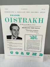 Igor Oistrakh violin - Columbia Emi Records Advertisement 1954 Khachaturian Cto