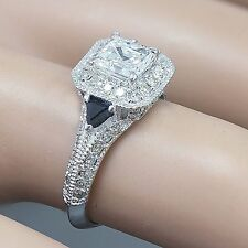14k White Gold Asscher Cut Diamond Engagement Bridal Natural Halo Ring 1.75ct