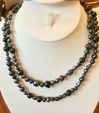 "Pearls strand 36"" Blue Black Freshwater Necklace  5-10mm Baroque Not round"