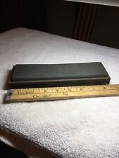 """Antique 8"""" Sharpening Oilstone Tool In Wood Box Without The Top. Two Grits."""