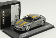 2016 Porsche 911R 911 R 991 Nardo Gray Yellow Stripes 1:43 Minichamps