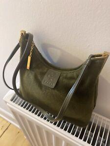 Vintage Olive Green Faux Fur Yes Carreau Paris Small Handbag