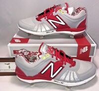 New Balance Mens Size 12 Low Metal Baseball Cleats Red Silver Digital