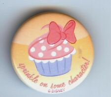 """DISNEY PARKS EXCLUSIVE 1.25"""" BUTTON PIN SPRINKLE ON SOME CHARACTER CUPCAKE FOOD"""