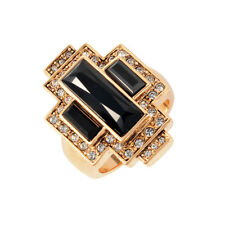 Cristalina Gatsby 24ct Gold Plated Swarovski Art Deco Statement Ring - Size N